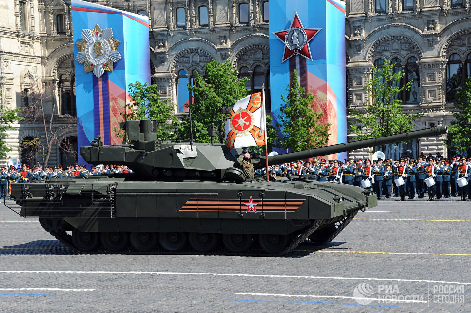 Танк Т-14 на гусеничной платформе Армата во время военного парада на Красной площади в честь 71-й годовщины Победы в Великой Отечественной войне 1941-1945 годов