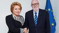 Глава ПАСЕ Педро Аграмунт и спикер Совета Федерации Валентина Матвиенко во время встречи в Страсбурге