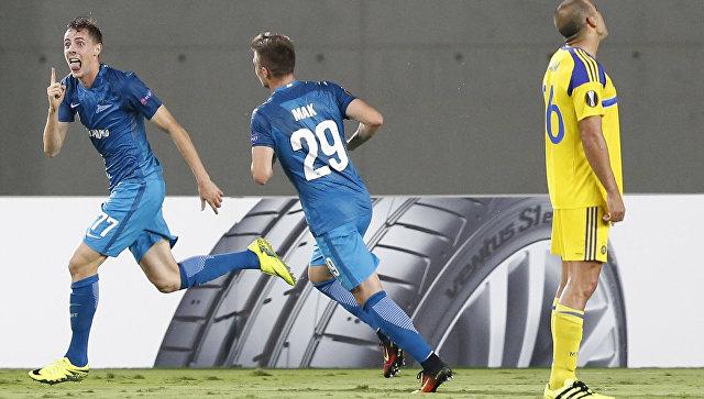 Игроки ФК Зенит из Санкт-Петербурга в матче против Маккаби из Тель-Авива. 15 сентября 2016