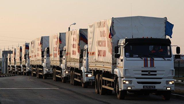 Грузовые автомобили из внеочередной дополнительной колонны МЧС России