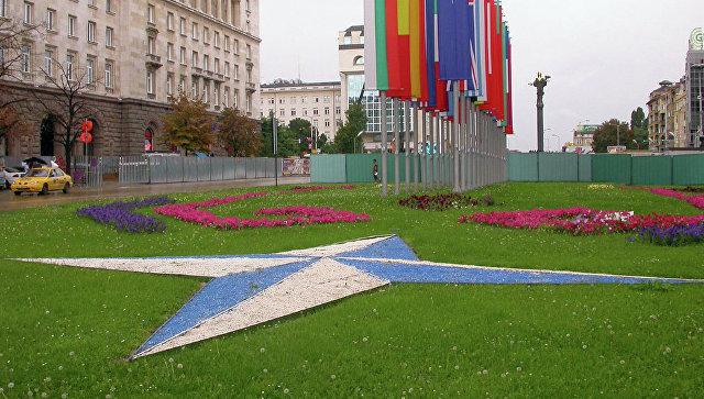Эмблема и флаги стран-членов НАТО. Архивное фото