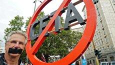 Акция протеста против создания зоны свободной торговли между Евросоюзом и Канадой (CETA). Архивное фото