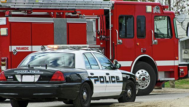 Автомобиль полиции и пожарная машина на вызове. Архивное фото