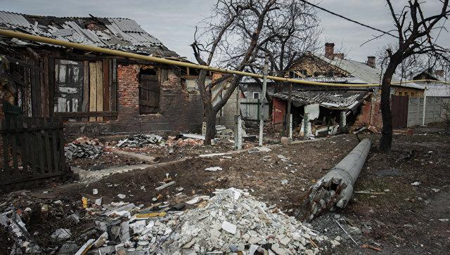 Разрушенный поселок Трудовские Петровского района Донецкой области