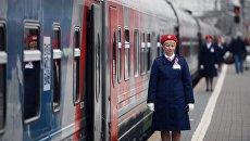 Сотрудница ОАО Российские железные дороги. Архивное фото