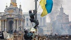 Сотрудники правоохранительных органов на площади Независимости в Киеве. Архивное фото