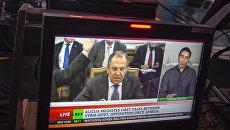 Ньюсрум телеканала Russia Today во время прямого эфира на английском языке. Архивное фото