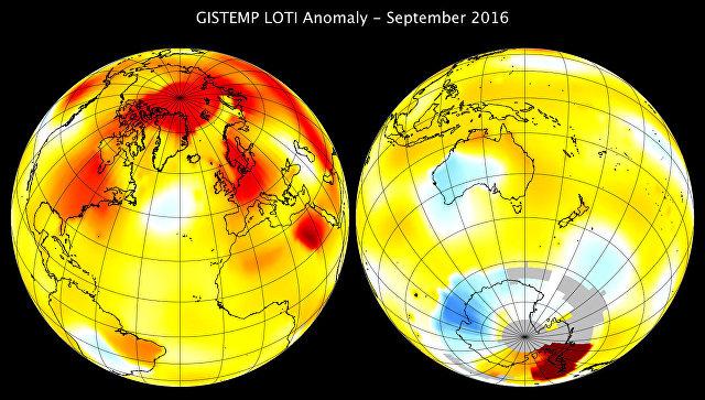 НАСА: сентябрь 2016г. стал самым жарким завсе время наблюдений