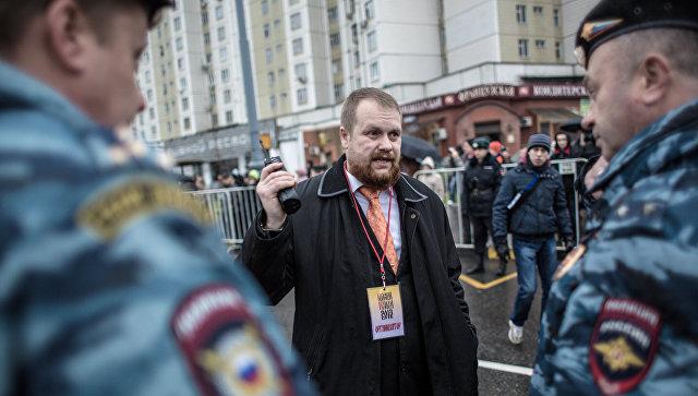 Лидер националистического объединения Дмитрий Демушкин принимает участие в Русском марше в Москве