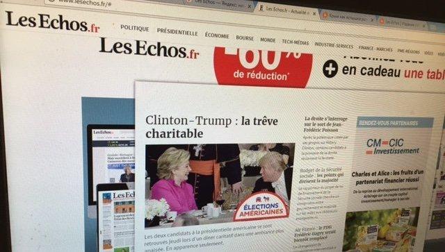 Скриншот газеты французских деловых кругов Les Echos