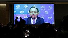 Видеообращение главы Управления верховного комиссара ООН по правам человека Зейд Раад аль-Хуссейн на сессии Совета по правам человека ООН по ситуации в сирийском городе Алеппо в Женеве