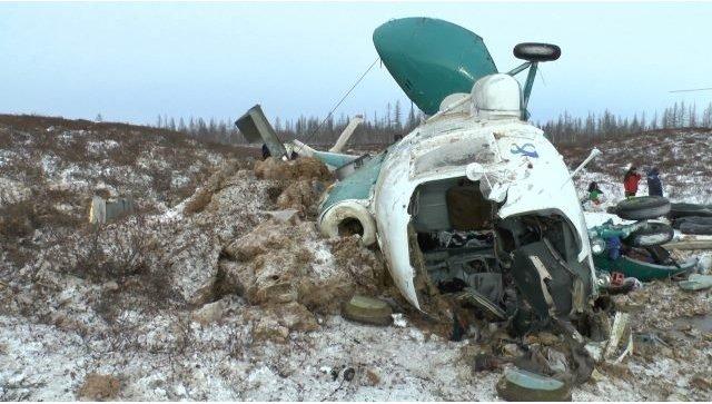 Кадры с места крушения Ми-8 авиакомпании Скол в Ямало-Ненецком АО