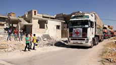 Колонна грузовиков с гуманитарной помощью. Архивное фото