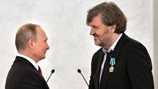 Президент РФ В. Путин и Эмир Кустурица. Архивное фото