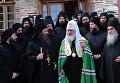 Патриарх Московский и Всея Руси Кирилл общается с братией монастыря Пантократор на горе Афон