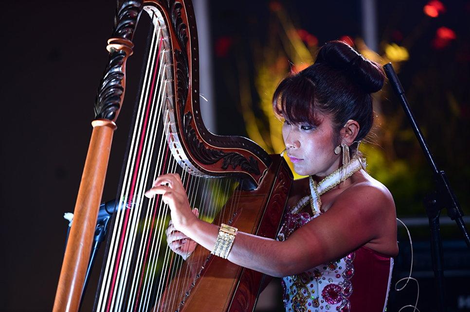 Девушка-музыкант во время саммита АТЭС в Лиме