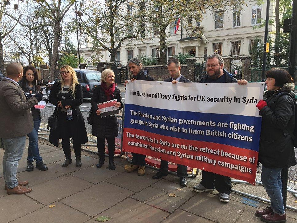 Встолице Англии прошла акция вподдержку действий ВКСРФ вСирии