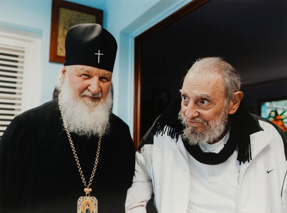 Патриарх Московский и всея Руси Кирилл во время встречи в Гаване с лидером кубинской революции, бывшим председателем Государственного совета и Совета министров Кубы Фиделем Кастро