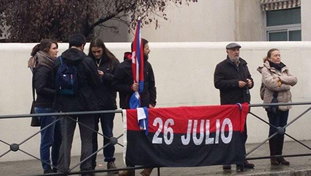 Акция у здания посольства Кубы в Мадриде