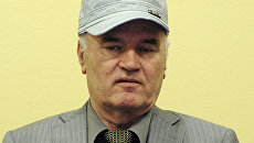 Сербский генерал Ратко Младич в Международном трибунале по бывшей Югославии (МТБЮ) в Гааге, Нидерланды. Архивное фото