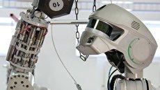 Испытание антропоморфного робота Федор. Архивное фото