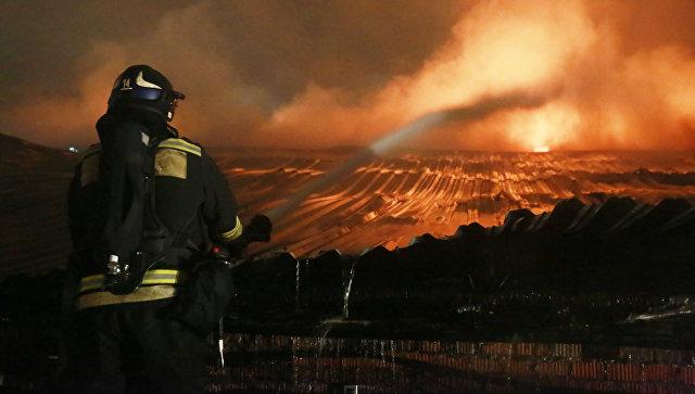 Площадь пожара вангаре навостоке столицы достигла тысячи квадратных метров