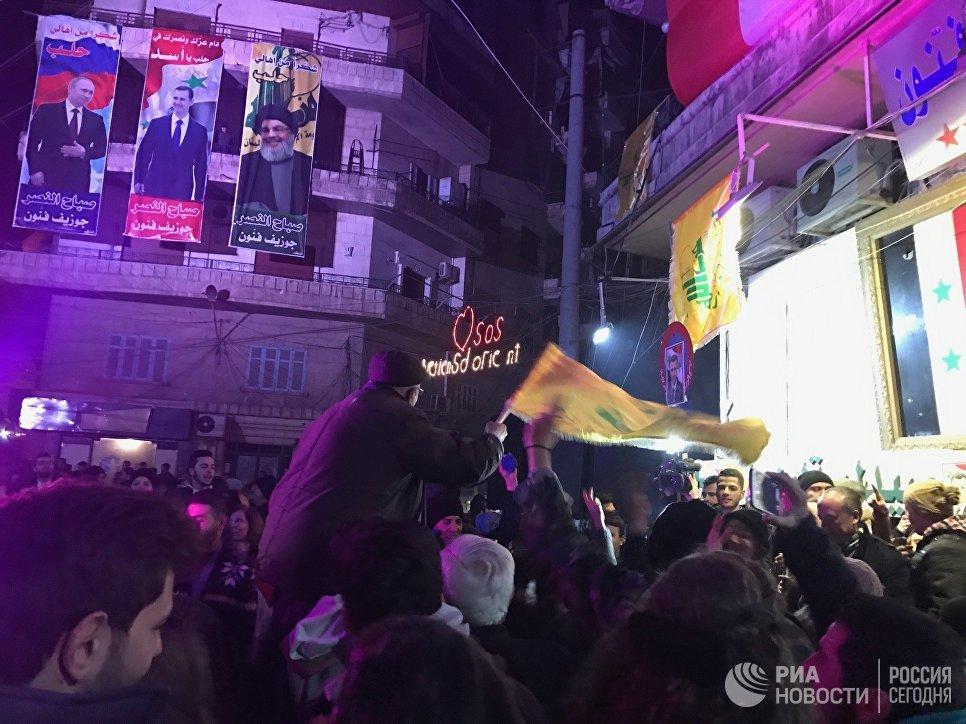 Вхристианском квартале Алеппо вовремя празднования победы прогремел взрыв