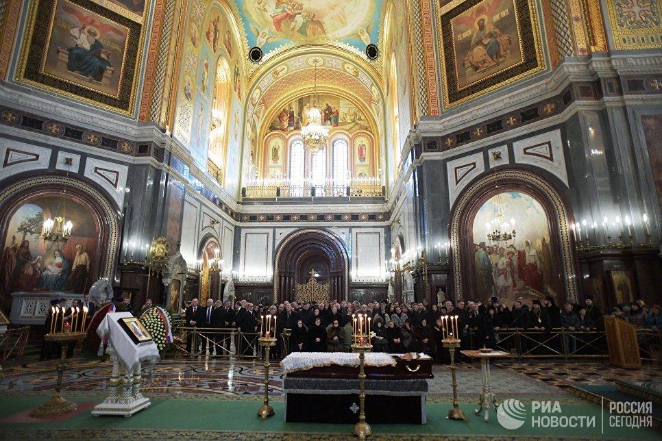 Отпевание посла РФ в Турции Андрея Карлова в храме Христа Спасителя