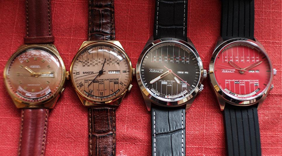 Образцы дизайна часов марки Ракета серии Вечный календарь от первых образцов 70х годов до современных в музее студии дизайна часового завода Ракета.