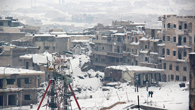 Заснеженная провинция Мааррет-эн-Нууман в Сирии. Архивное фото
