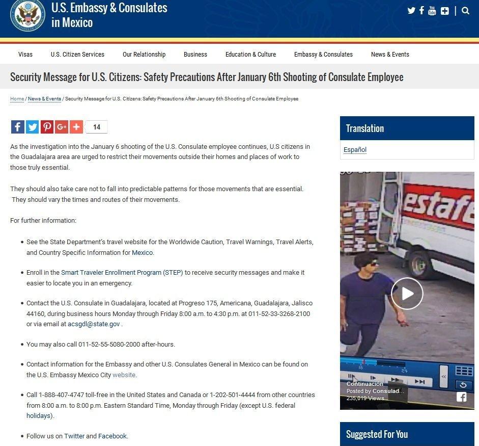 Неизвестный ранил сотрудника консульства США вМексике