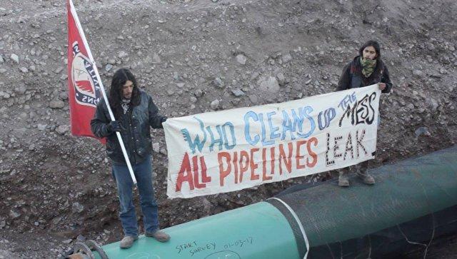 Акция протеста против строительства газопровода компании Trans-Pecos в американском штате Техас. 8 января 2017