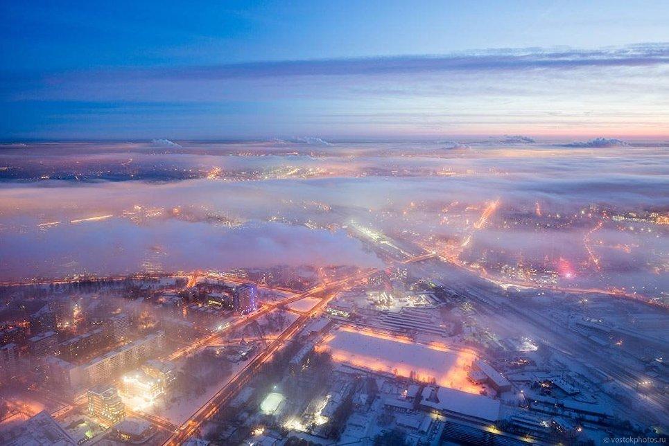 Москва под облаками. Вид в сторону Шереметьевской улицы