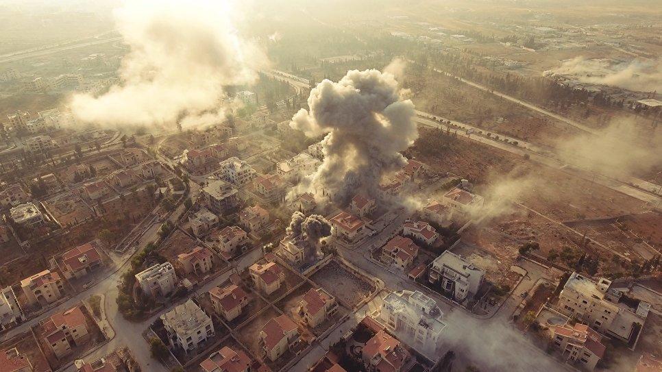 Оборона Академии Башара Асада в Алеппо. Правительственные войска наносят удары по позициям боевиков. Сирия, 11.2016