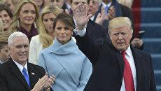 Il presidente eletto Donald Trump arriva per l'inaugurazione del Campidoglio di Washington.  20 gennaio 2017