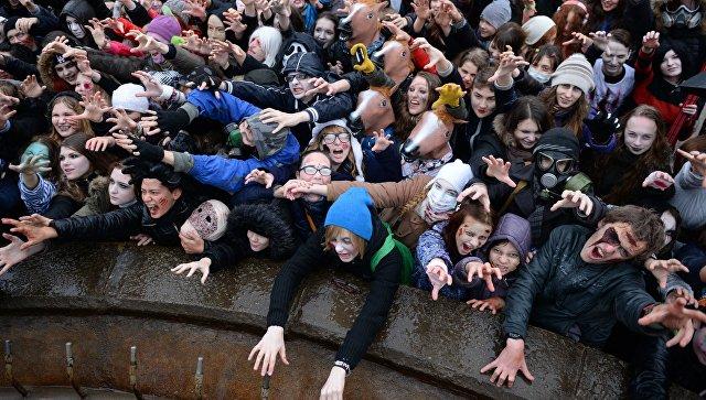 Зомби-парад в канун Хэллоуина в Новосибирске