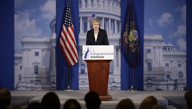 Премьер-министр Великобритании Тереза Мэй во время выступления перед членами Республиканской партии США в Филадельфии. 26 января 2017