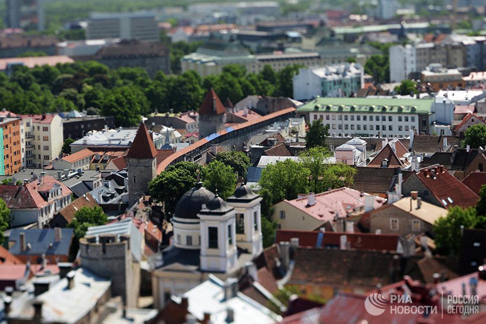 Вид на Старый город с верхушки церкви Оливисте в Таллине, Эстония