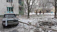 Жилой дом в Донецке, пострадавший от обстрела. Архивное фото