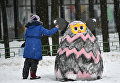 Работа участника Арт-битвы Снеговиков в Московском Дворце пионеров на Воробьевых горах