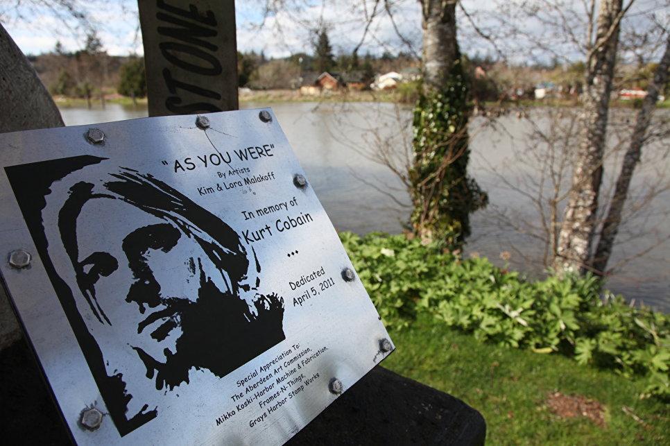 Табличка в парке Курта Кобейна в Абердине, штат Вашингтон