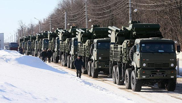 ВВС РФ приняли первые 10 новейших зенитных ракетно-пушечных комплексов (ЗРПК) Панцирь-С1. Архивное фото.