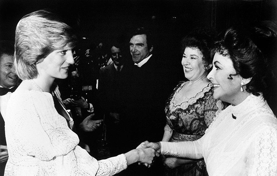 Принцесса Уэльская, леди Диана и актриса Элизабет Тейлор, 8 марта 1982