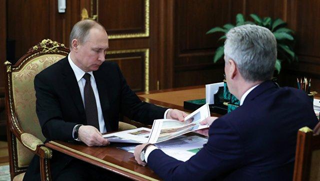 Президент РФ Владимир Путин и мэр Москвы Сергей Собянин. 21 февраля 2017