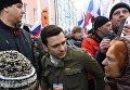 Член федерального политсовета движения Солидарность Илья Яшин на марше памяти Бориса Немцова, приуроченного ко второй годовщине убийства политика