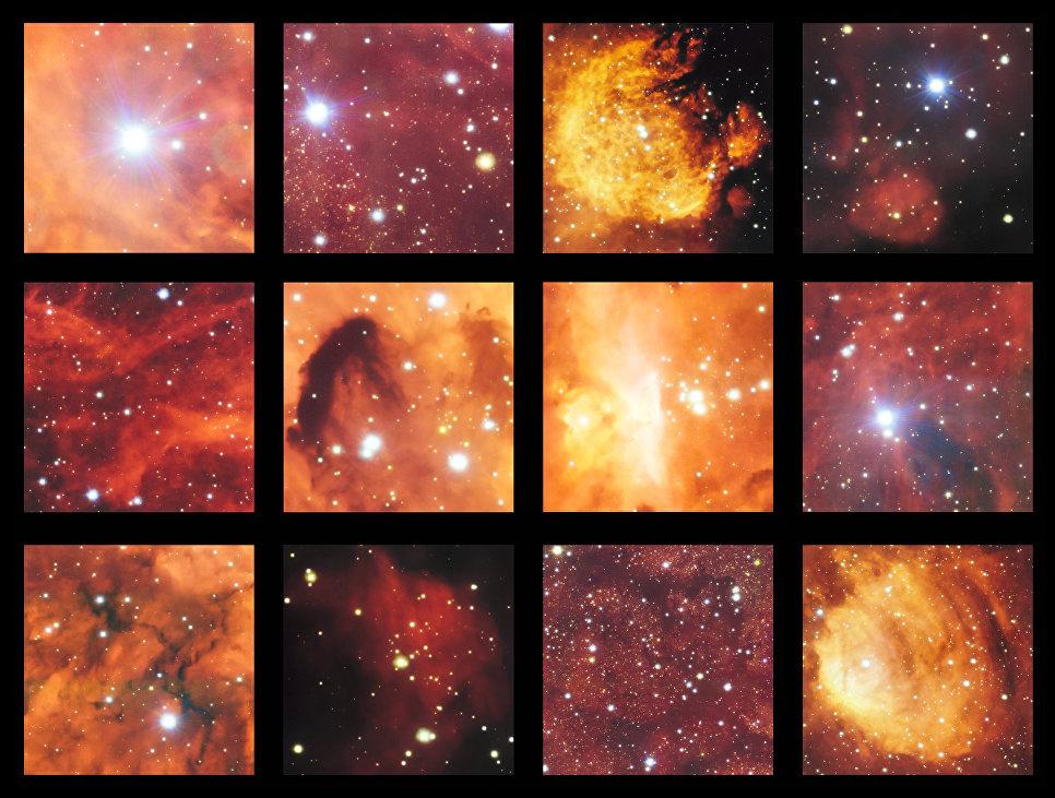 Снимок туманности Кошачья Лапа и Лобстер сделанный на широкоугольном телескопе, входящем в комплекс VLT