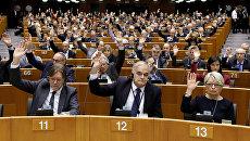 Члены Европейского парламента голосуют за снятие парламентского иммунитета с лидера партии Национальный фронт Марин Ле Пен. 2 марта 2017