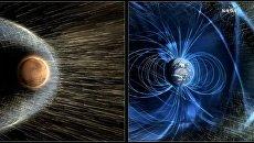 Марс и Земля взаимодействуют с солнечным ветром