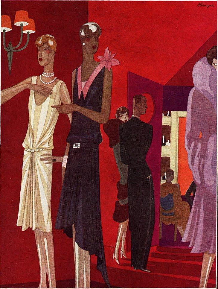 Реклама вечерних ансамблей от дома моды Redfern. Журнал Femina, 1927 г.