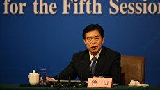 Министр коммерции Китая Чжун Шань на пресс-конференции в Пекине, 11 марта 2017